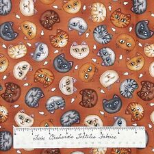 Wild Cats Fabric - Kitten Head & Mouse Toss Burnt Orange - RJR Dan Morris YARD