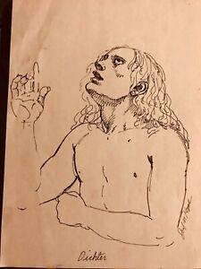 """Vintage JOSEF M. KOZAK Original Work of Art """"DICHTER"""" Drawing Signed Unframed"""