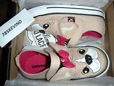 Toddler Girls' CONVERSE CT Slip-on Tan/Pink Dog Sneakers size 9 (NIB)