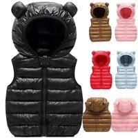 Toddler Baby Boy Girl Winter Windproof Gilet Coat Hooded Warm Outwear Waistcoat