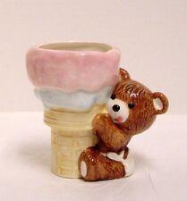 Vintage Napco Baby Nursery Planter Teddy Bear With Ice Cream Cone Ceramic Japan