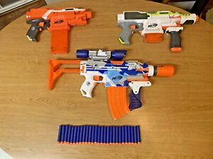 Lot Of 3 NERF N-Strike Elite Semi Automatic Stryfe Toy Guns Works Camo scope 27