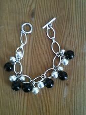 Silver bracelet With Silver & Black Balls