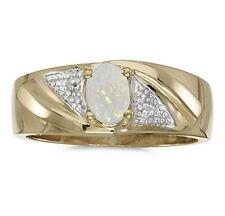 Mens Genuine Opal and Diamond Ring 10K Yellow Gold