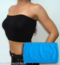 Seamless Strapless Bandeau BLUE Tube Top Bra No Pads FREE SHIPPING to USA
