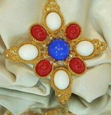 Large Sarah Cov Signed Vintage 70's Red White Blue Maltese Cross Brooch 350AG6