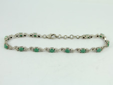 Diamond & Emerald Tennis Bracelet Sterling Silver Ladies Stunning 925 13.5g Fy84
