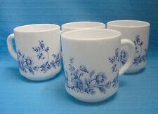 Arcopal Glenwood France Mug Milk Color Glass Drink Set of 4 Blue Flora Flower