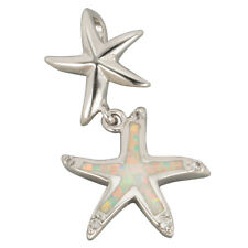 White Fire Opal Inlay Silver Jewellery Double Starfish Pendant for Necklace