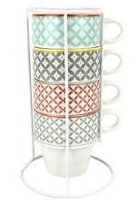 Check Print Cappuccino Cup Set, Pastel Coloured Coffee Mug Tower, 4 Cups & Stand