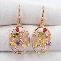 18K Yellow Gold Filled Multi-Color Mystic Topaz Women Oval Flower Earrings