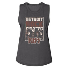 Kiss Detroit Rick City 76 Women's Muscle Tank T Shirt Heavy Metal Band Merch