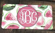 Monogram License Plate Watermelon Car Tag New Green White Pink Monogram Car Tag
