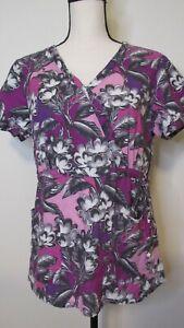 Koi by Kathy Peterson Women's Purple Floral Print Mock Wrap Scrub Top Size M