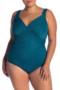 Miraclesuit Nile Blue Revele One-Piece Swimsuit, Size US 18W