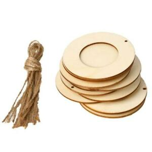 10pcs/set Wooden Mini Round Photo Frame Hanging Crafts DIY With Ropes Home Decor