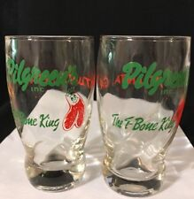 "Pilgreen's Inc ""The T-Bone King"" Atlanta Ga glasses Set of 2"
