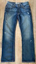 BKE Men's 30x33 Tyson Denim Jeans Medium Wash Distressed Straight Leg Stretch