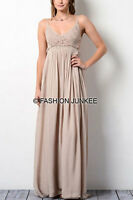 TAUPE CROCHET MAXI Dress Backless Open Back Full Length Bridesmaid Long S M L