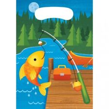 """Camp Out Fish Treat Plastic Bags 3 Per Pack 9"""" x 6.5"""" Camping Birthday Party"""