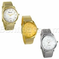 Men's Fashion Simple Stainless Steel Mesh Band Quartz Analog Round Wrist Watch