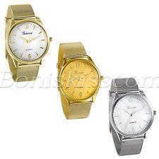 Мужские модные простые сетки из нержавеющей стали ремешок кварцевые аналоговые наручные часы круглый