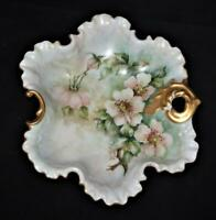 """Hand Painted Signed Elise Olson White Flowers & Gold Trim Leaf Candy Dish 8 3/8"""""""
