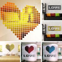 100 stk 3D Mosaik Acryl Spiegel Wandtattoo Wandsticker Wanddeko aufkleber LP