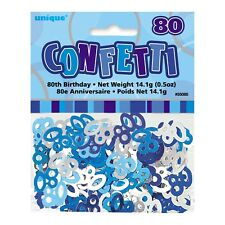 GLITZ BLUE AND SILVER 80TH BIRTHDAY PARTY DECORATIONS TABLE SCATTERS CONFETTI