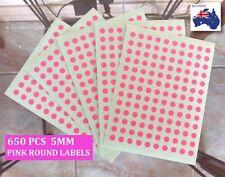 650 Pcs Mini Round Circle Dots Spots Label Sticker Colour Code Pink 5mm