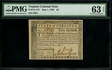 Us Colonial Currency Virginia Note Fr# Va-175 May 1, 1780 $5 Pmg 63 Epq Ch Unc