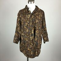 St Johns Bay 20W Blouse Shirt Button Up Brown Paisley Stretch Cotton Blend