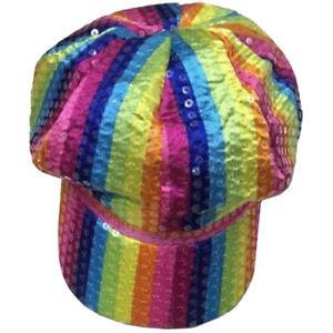 New Adult Sequin Rainbow Stripe Baker Boy Cap Gay Pride Fancy Dress Accessory UK