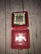 Vintage German Linden Travel Alarm Clock Wind Up Red Snap Close Case