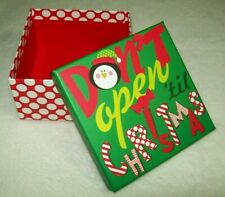 "Don't Open 'Til Christmas Small Gift Box 4.7"" By 4.7"" By 2.5"" 3D Foam Accents"