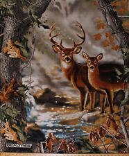 "36"" X 44"" Panel Realtree Deer Buck Doe Wildlife Hunting Cotton Fabric D568.55"