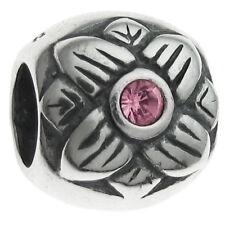Sterling Silver Sunflower CZ Crystal Birthstone Bead for European Charm Bracelet