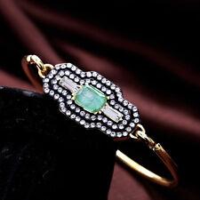 Bracelet Jonc Fin Doré Art Deco Géométric Vert Pale Fashion CT 8