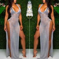 Summer Sleeveless Mesh See-Through Transparent Long Maxi Beach Dress Sundress.