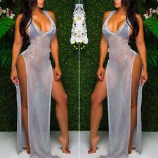Summer Sleeveless Mesh See-Through Transparent Long Maxi Beach Dresses Sundress