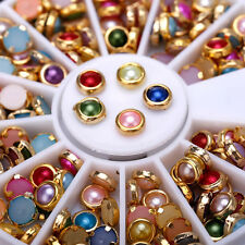 Mix Color Wheel Nail Art 3D Crystal Glitter Rhinestone Tips DIY Decoration