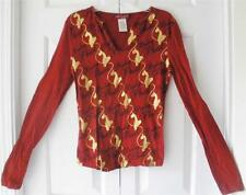 Baby Phat Juniors Red Gold Casual Long Sleeve Cotton Knit Top T Shirt Small S