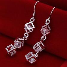 Damen Ohrhänger Würfel mit Zirkonia Ohrringe 925 Sterling Silber plattiert