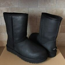 UGG Classic Short Black Water-resistant Leather Fur Boots Size US 6 Womens NEW