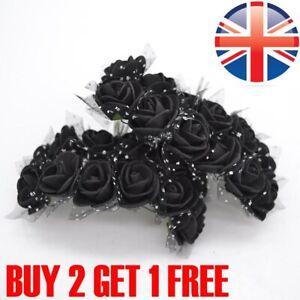 144pcs Artificial Flowers Mini Foam Roses with stem Wedding Bouquet Decor UK