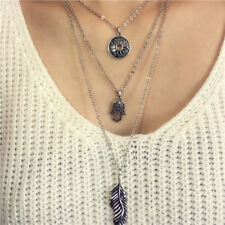 Retro Multi-layer Palm Leaf Pendant Long Chain Necklace Choker Jewelry BohemiaWB
