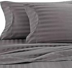 Wamsutta Damask Stripe 500 tc Twin Sheet set in GREY NEW