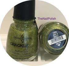 China Glaze Nail Polish Jade-d 1099 #80557 Crackle Glitter Shimmering Gold Green