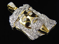 Mens .75 ct Real Diamond Jesus Head Pendant in Yellow Gold Finish Silver 1.25 In