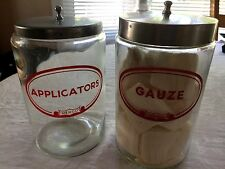 Sundry Glass Applicators/Gauze Jars / Red Label , Merco, Vintage
